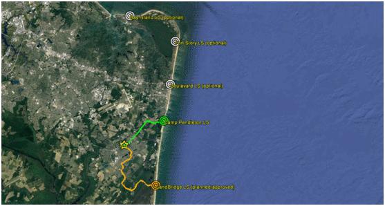 Multiple Beach Manholes BMH Virgina Beach, Terrestrial routes, coastline infrastructure